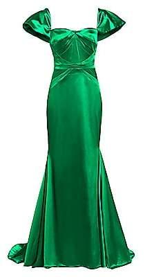 Zac Posen Women's Stretch Satin Short Sleeve Gown