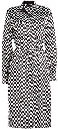 Amiri Checkerboard Printed Silk Shirt Dress