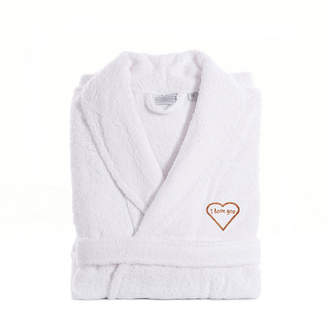 Asstd National Brand Linum Home I Love You Embroidered White Terry Bathrobe - Pink
