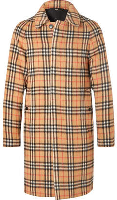 Burberry Checked Alpaca And Wool-blend Coat - Yellow