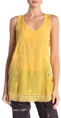 Johnny Was Embroidered Eyelet Tank