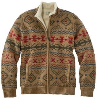 L.L. Bean Men's L.L.Bean Classic Ragg Wool Sweater, Full-Zip Sherpa-Lined Fair Isle