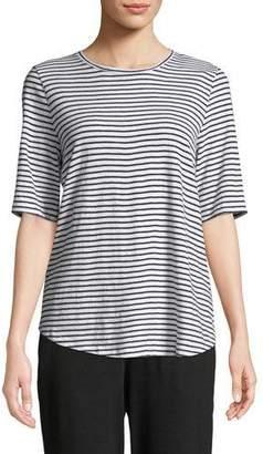 Eileen Fisher Half-Sleeve Organic Cotton Striped Tee
