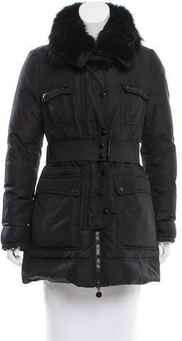 MonclerMoncler Balisier Fur-Trimmed Coat