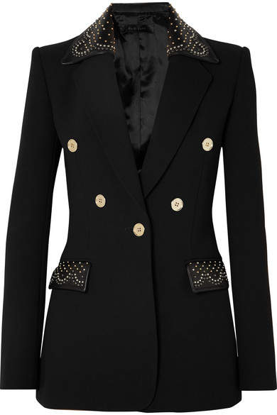 Studded Leather-trimmed Crepe Blazer - Black