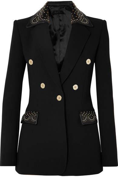 Studded Leather-trimmed Crepe Blazer - Black