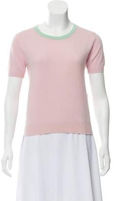 Chanel Cashmere Short Sleeve Sweater Pink Cashmere Short Sleeve Sweater