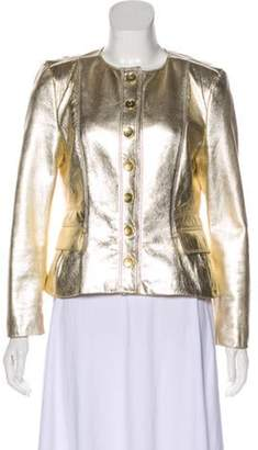 Burberry Structured Leather Jacket Gold Structured Leather Jacket
