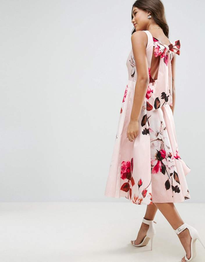 Asos ASOS Bow Back Midi Prom Dress in Floral Print