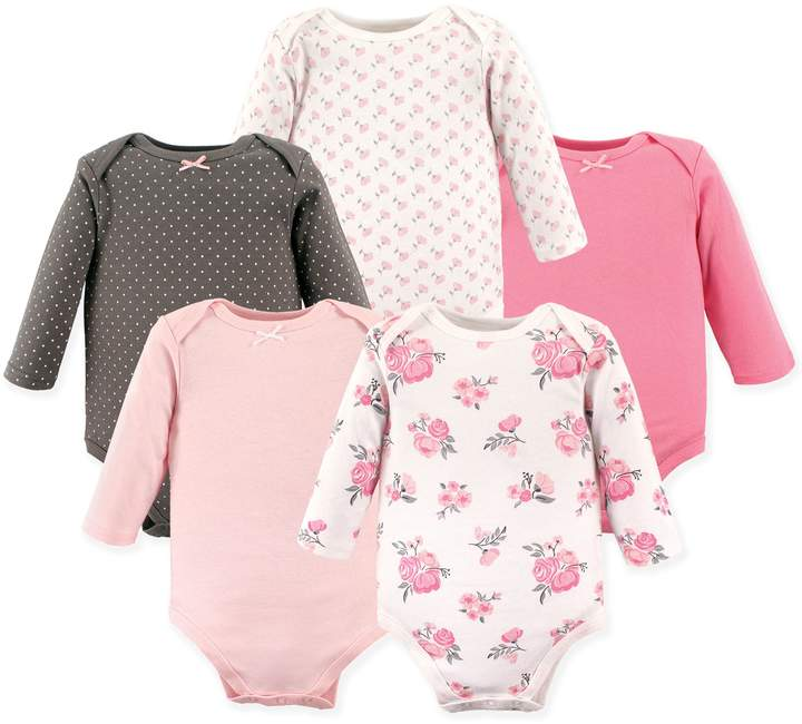 Hudson Baby 5-Pack Floral Long Sleeve Bodysuits in Pink