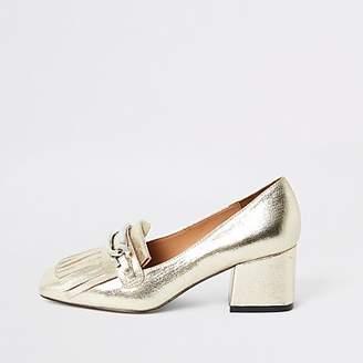 River Island Gold heeled snaffle tassel loafer