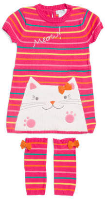 Toddler Girls Cat Sweater Dress With Leg Warmers
