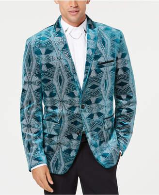 INC International Concepts I.n.c. Men's Slim-Fit Glitter Velvet Pattern Blazer