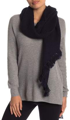 UGG Asymmetrical Fringe Wool Blend Scarf