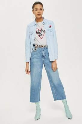 Topshop Petite Mid Blue Cropped Wide Leg Jeans