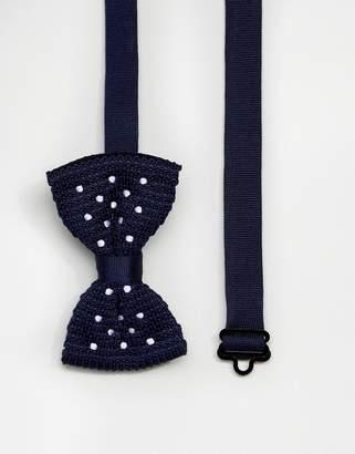 Asos Polka Dot Bow Tie In Navy