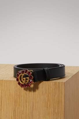 Gucci Leather belt with Double G and crystals