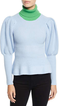 Novis Abbott Colorblocked Puff-Sleeve Sweater