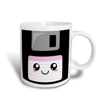 Pink Label 3dRose Kawaii Cute Happy Floppy Disk - Retro computer Nerd - Japanese Anime Smiley cartoon with pink label, Ceramic Mug, 15-ounce
