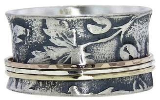 David Tishbi Wide Falling Leaves Band in Silver with 3 Tone Spinners