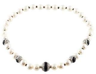 Andreoli 18K Pearl, Diamond & Onyx Bead Strand Necklace