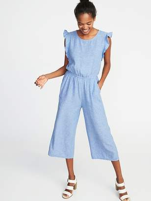 Old Navy Waist-Defined Linen-Blend Utility Jumpsuit for Women