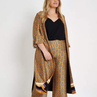 River Island Womens Plus orange print tie waist duster coat