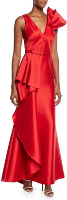 Badgley Mischka V-Neck Sleeveless Asymmetric Flounce Gown w/ Belted Waist & Bow Detail