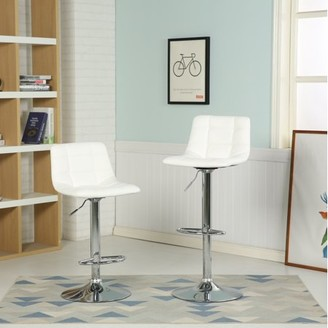 Roundhill Furniture Roundhill Stresbourg Swivel Faux Leather Adjustable Hydraulic Scooped Bar Stool, White, Set of 2