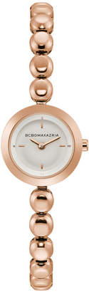 BCBGMAXAZRIA Ladies Rose Gold Bracelet Watch with Silver Dial, 20MM