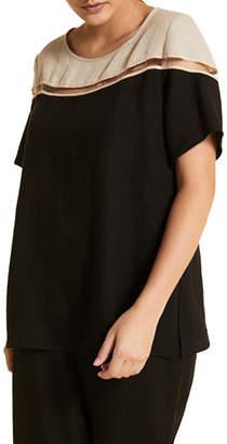 Marina Rinaldi Plus Size Bergamo Colorblock Short-Sleeve Top w/ Inset