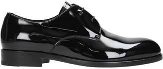 Ermenegildo Zegna Black Patent Leather Derby Lace-up Shoes