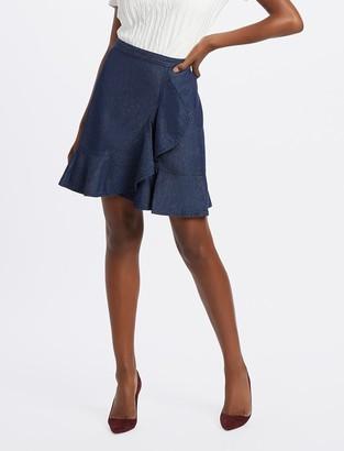 Draper James Chambray Faux Wrap Skirt