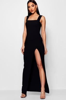 boohoo Square Neck Tie Side Split Maxi Dress