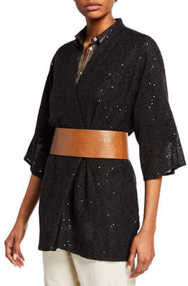 Brunello Cucinelli Sequined Kimono Sleeve Wrap Cardigan