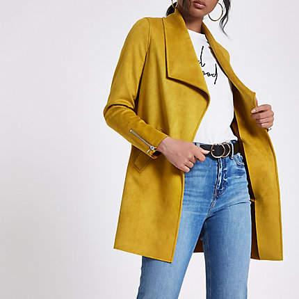 Womens Yellow faux suede longline fallaway jacket