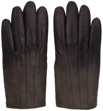 HUGO Grey Leather Gloves