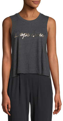 Spiritual Gangster Dope Soul Foil Graphic Cropped Muscle Tank