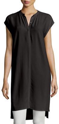 Eileen Fisher Cap-Sleeve Silk Georgette Layering Dress, Petite $298 thestylecure.com