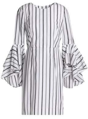Milly Ruffled Striped Cotton-Poplin Mini Dress