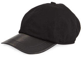 Neiman Marcus Men's Cashmere and Leather Baseball Hat