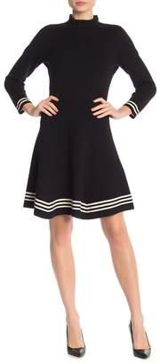 Anne Klein Ruffle Mock Neck Stripe Contrast Fit & Flare Dress