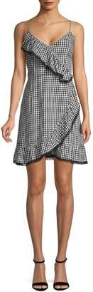 BB Dakota Gingham Ruffle Wrap Dress