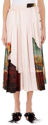 Simone Rocha Lady Print Pleated Knee-Length Skirt