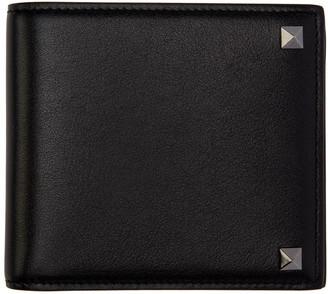 Valentino Black Leather Rockstud Bifold Wallet $375 thestylecure.com