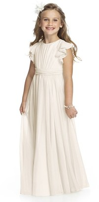 Toddler Girl's Dessy Collection Flutter Sleeve Long Chiffon Flower Girl Dress $196 thestylecure.com