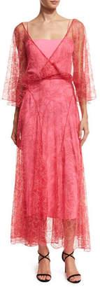 ADAM by Adam Lippes V-Neck Lace Flutter-Hem Midi Dress, Hot Pink