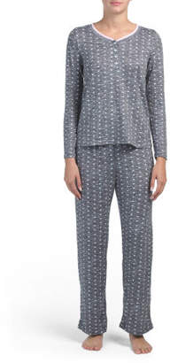 Brushed Hacci Double Band Henley Pj Set