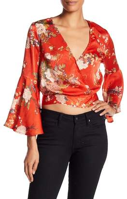 Flying Tomato Floral Bell Sleeve Crop Top