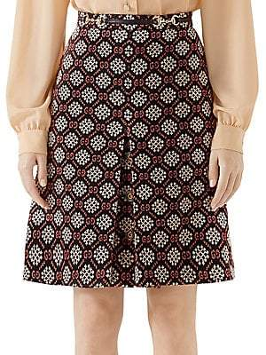 Gucci Women's Micro GG Pleat Front Skirt